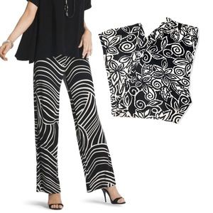 TRAVELERS CLASSIC BLACK AND WHITE FLORAL PANTS 1X
